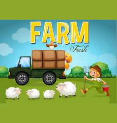 Farm scene with farmer and sheeps vector