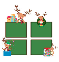 four chalkboards with christmas reindeers vector image vector image