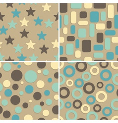 four retro abstract seamless patterns vector image