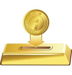 Gold button vector