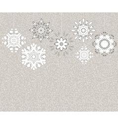 hanging snowflakes vintage postcard vector image