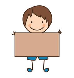 Happy boy with card icon vector