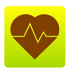 Heartbeat sign brown icon at vector