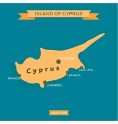 Island of cyprus with a mark cities on it vector