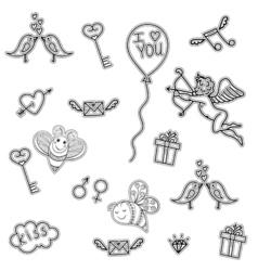 Line art doodle love symbols for St Valentine Day vector image vector image
