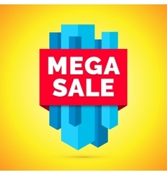 Mega sale banner yellow background vector
