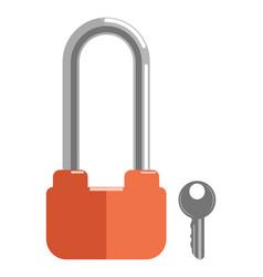 metal lock with elongated loop and orange corpus vector image