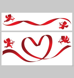 red ribbon and cupids vector image