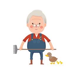 Senior Farmer with Ducks Cartoon Character vector image vector image