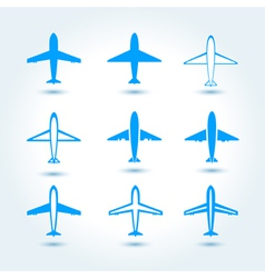 Set of airplane symbol vector image