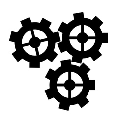 Silhouette three gear wheel engine cog icon vector