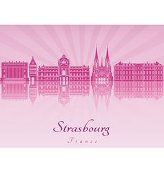 Strasbourg skyline in purple radiant orchid vector image