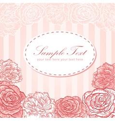 Valentine flower stripe invitation love card vector