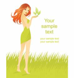 woman leaf grass vector image
