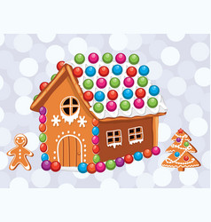 xmas card with colorful gingerbread cookies vector image vector image