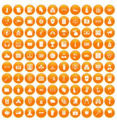 100 crime icons set orange vector