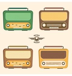 Colorful Retro Radio Set Flat Design vector image