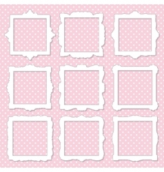 Cute square photo frame set on polka dot vector