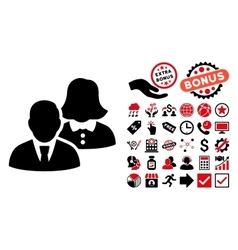 People flat icon with bonus vector