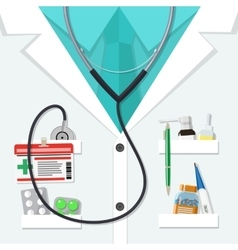White doctors suit with pills and medical devices vector