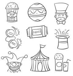 doodle circus with ball tent hat vector image