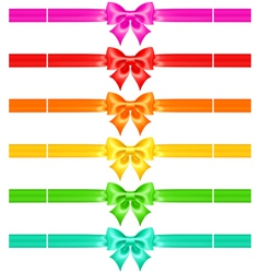 Bows with ribbons of warm colors vector