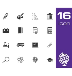 Black education icon set on white background vector