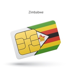 Zimbabwe mobile phone sim card with flag vector
