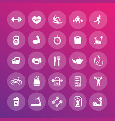 25 fitness icons pack gym workout exercises vector image vector image