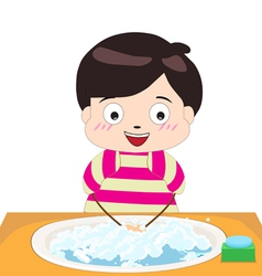 Little boy washing his hands vector
