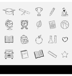 Doodle school icons set vector image