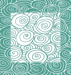 Waves hand-drawn pattern curled frame square vector