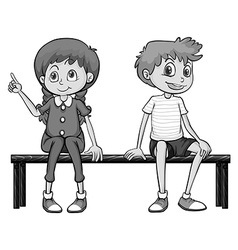 Girl and boy sitting on a bench vector image