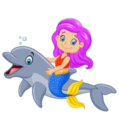 Cartoon funny mermaid swimming with friendly vector