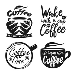 Hand drawn typography coffee posters set vector