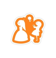 Paper sticker on white background bride throws vector
