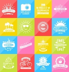 Set summer holidays labels design elements vector