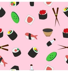 Seamless texture of tasty japanese food vector