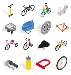 Bicycle icons set isometric 3d style vector