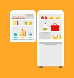 Open refrigerator with food Flat style vector image