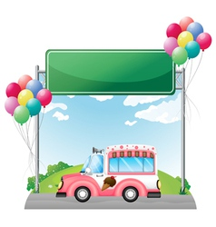 A pink ice cream bus near an empty green board vector image