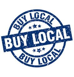 Buy local blue round grunge stamp vector