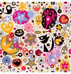 Cartoon creatures pattern vector