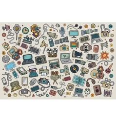 Color hand drawn doodle set equipment and vector