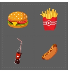 Colorful Fast Food Icon Set on Grey Background vector image