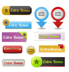 colorful website extra bonus buttons design vector image