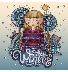 Decorative cartoon winter girl postcard vector