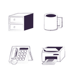 Desk and office supplies design vector