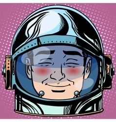 Emoticon embarrassment emoji face man astronaut vector