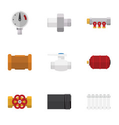 flat icon pipeline set of tube pipe connector vector image